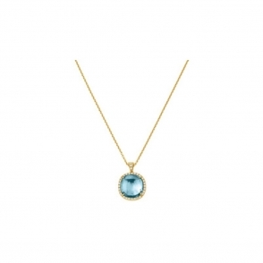 18ct Yellow Gold Blue Topaz & Diamond Jaipur Necklace