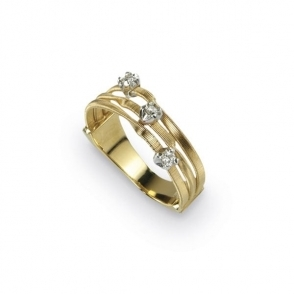 18ct Yellow Gold Diamond Set Mini Marrakech Three Strand Ring