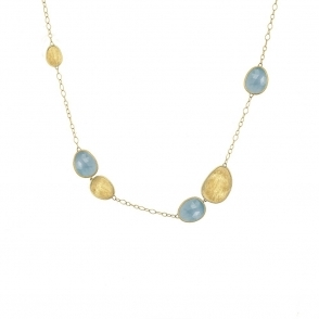 18ct Yellow Gold Lunaria Aquamarine Seven Link Necklace