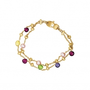 18ct Yellow Gold Mixed Stone & Pearl 2 Strand Paradise Bracelet