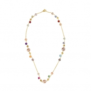 18ct Yellow Gold Mixed Stone & Pearl Paradise Necklace