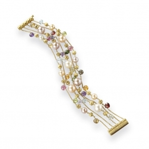 18ct Yellow Gold Paradise Gem and Pearl Five Row Bracelet