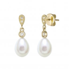 18ct Yellow Gold Pearl and Diamond Drop Earrings