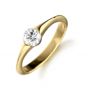 18ct Yellow Gold Tapered Shank Ring with Brilliant Cut Diamond 0.36ct
