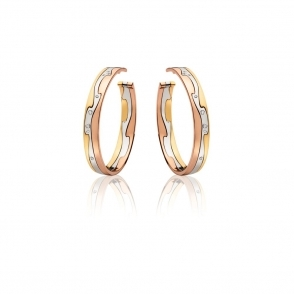 18ct Yellow, White & Rose Gold Fusion Diamond Hoop Earrings