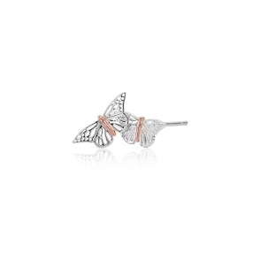 9ct Gold & Silver Butterfly Stud Earrings