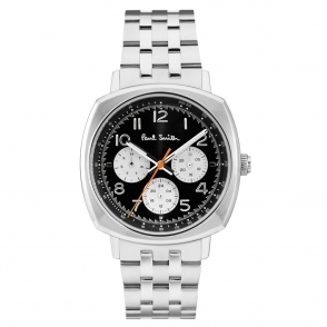 Atomic Chronograph Stainless Steel Watch with Black Dial & Silver Sub-Dials