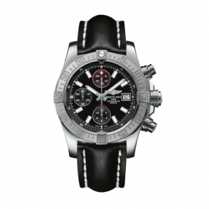 Avenger II Automatic chronograph in steel with black dial and black calf leather strap - A1338111/BC32