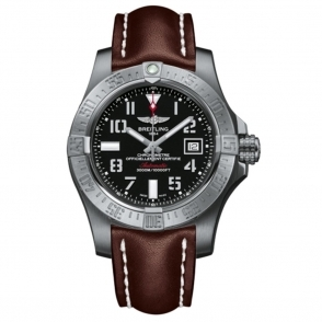 "Avenger II Seawolf automatic watch with aviation ""stencil"" numerals on black dial with brown strap"