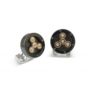 Black Rhodium Plated Carbon Fibre Sun & Moon Cogs Cufflinks