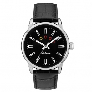 Block 3 Hands Steel Quartz Watch with Black Dial