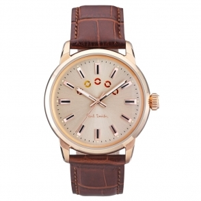 Block Gold PVD Watch with Coloured Turning Disc & Brown Strap