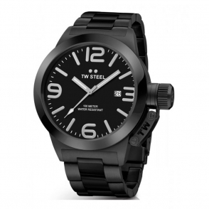 Canteen 45mm Black PVD Steel Quartz Watch with Black Dial, Silver Hands and Indices