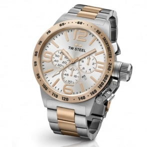 Canteen Bracelet Watch Steel and Rose Gold PVD 45mm Chronograph