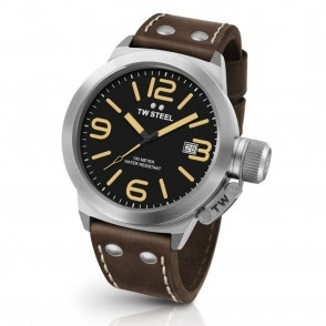Canteen Leather 50mm Quartz Watch with Black Dial and Brown Strap