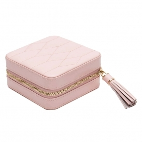 Caroline Zip Case in Rose Quartz Leather