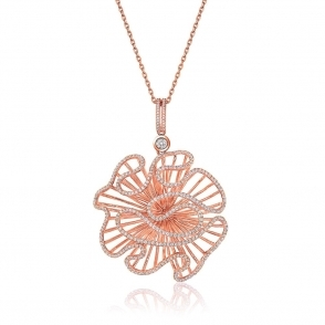 Cascade Large Pendant with CZ in Rose Gold Finish
