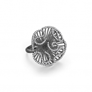 Cascade Medium Ring in Black Rhodium Finish