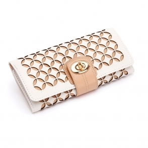 Chloe Jewellery Roll in Cream Leather