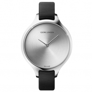 Concave Ladies 39mm Quartz Watch with Silver Sunray Dial