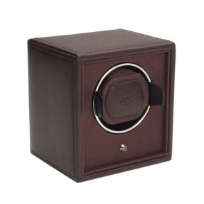 Cub Single Watch Winder in Brown Pebble Faux Leather