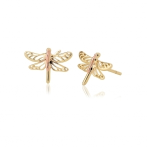 Damselfly Gold Stud Earrings