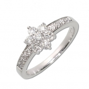 Diamond Multi Stone Cluster Ring with pave Set Diamond shoulders