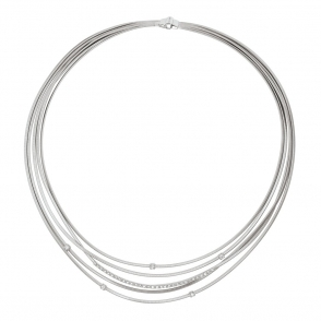Goa 18ct White Gold Multi Strand Diamond Necklace