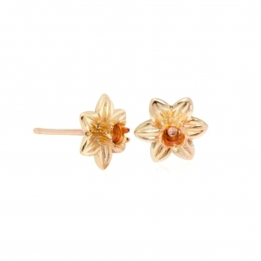 Gold Daffodil Stud Earrings