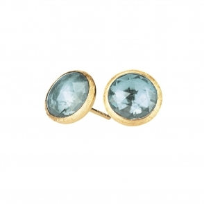 Jaipur 18ct Yellow Gold Blue Topaz Round Stud Earrings