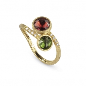 Jaipur 18ct Yellow Gold Diamond, Pink and Green Tourmaline Ring