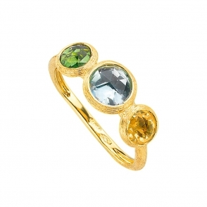Jaipur 18ct Yellow Gold Green Tourmaline, Topaz & Citrine Ring