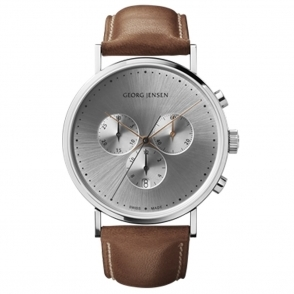 Koppel Gents Quartz Chronograph with Silver Dial and Brown Strap