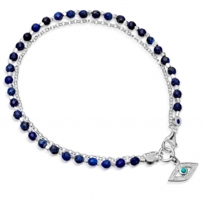 Lapis Evil Eye Biography Silver Bracelet