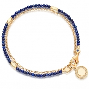 Lapis Faceted Nugget Biography Bracelet