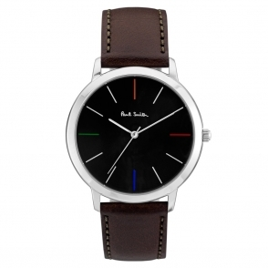 Ma Watch with Black Dial & Coloured Indices & Brown Leather Strap