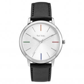 Ma Watch with Silver Dial & Coloured Indices with Black Leather Strap
