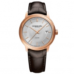 Maestro Gents Automatic Watch in Rose Gold PVD and Silver Dial. Sapphire Crystal Case Back