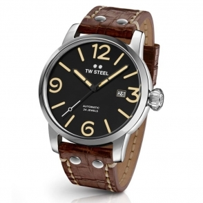 Maverick Polished Stainless Steel 45mm Automatic 3 Hands Watch