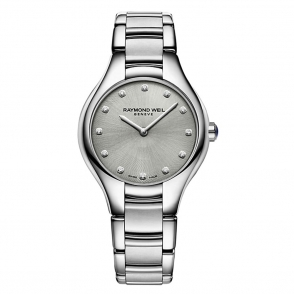Noemia Ladies Watch with Grey Metallic Diamond-Set Dial