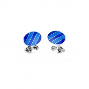 Oval wide stripe design cufflinks