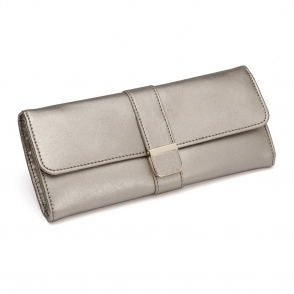 Palermo Jewellery Roll in Pewter Smooth Pebble Leather