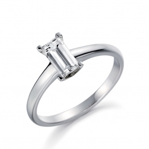 Palladium Baguette Diamond Solitaire Ring 1V11A