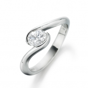 Palladium Oval Diamond Ring 1Q76A