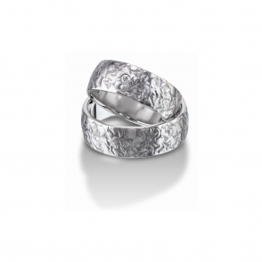 Palladium Planished Finished Wedding Rings