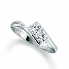 Palladium Princess Cut Diamond Two Stone Ring 1T42A