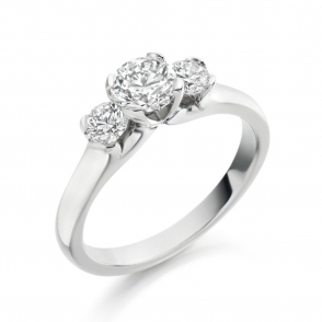 Palladium Three Stone Brilliant Cut Diamond Ring