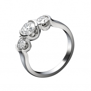 Platinum 3 Stone Brilliant Cut Diamond Engagement Ring