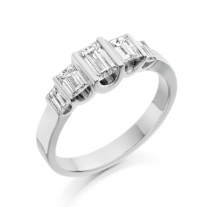 Platinum Baguette Diamond Five Stone Ring 1X02A