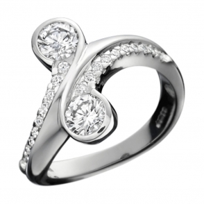 Platinum Brilliant Cut Diamond Cross Over Ring